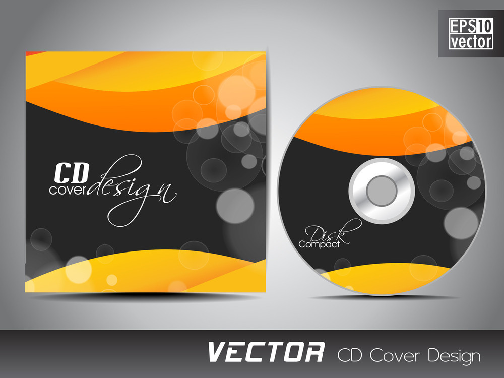 Cd Cover Presentation Design Template With Copy Space And Wave Effect.