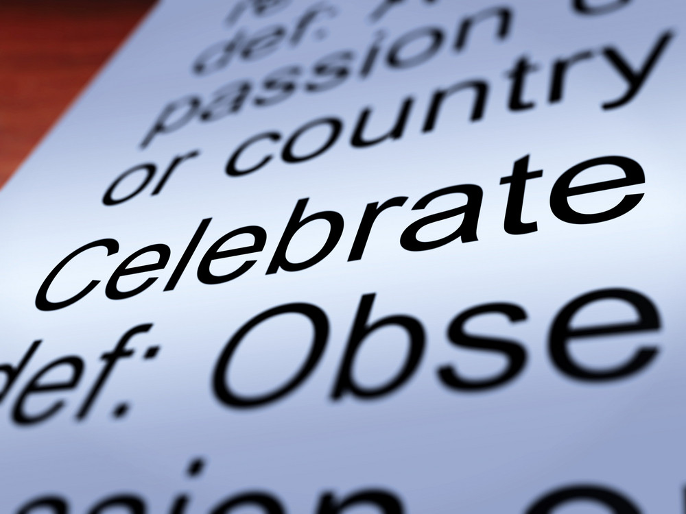 Celebrate Definition Closeup Showing Festivity Or Event