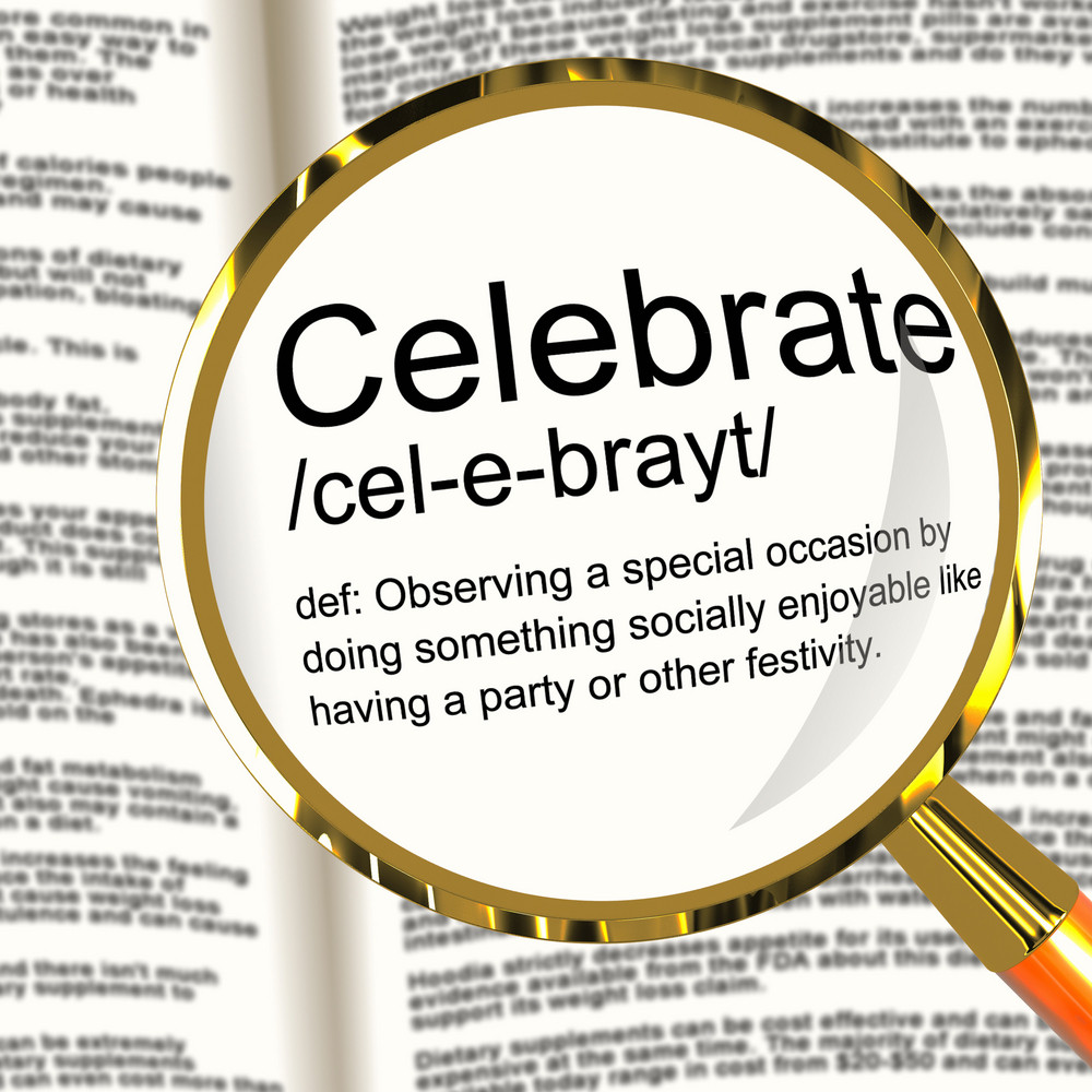 Celebrate Definition Magnifier Showing Party Festivity Or Event