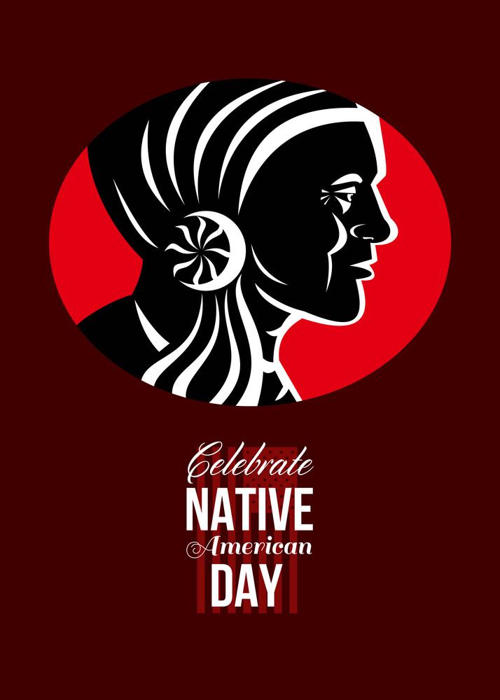 Celebrate Native American Day Retro Poster Card