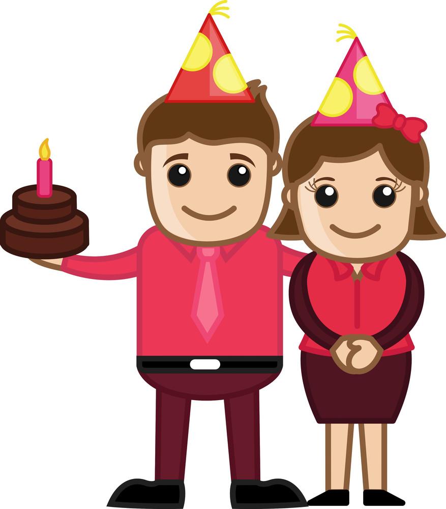 Celebrating Anniversary - Cartoon Business Character