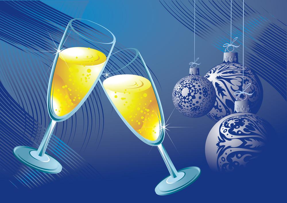 Celebrating Champagne. Vector Illustration