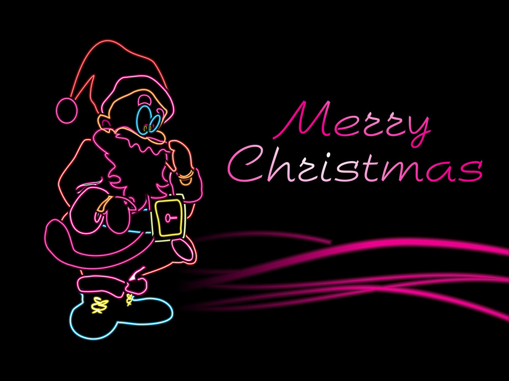 Celebrating Christmas Light In Santa Shape With Waves