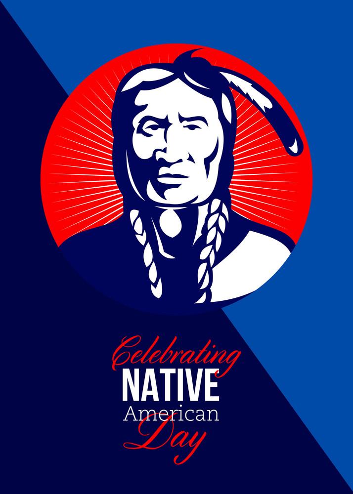 celebrating native american day retro greeting card royalty free