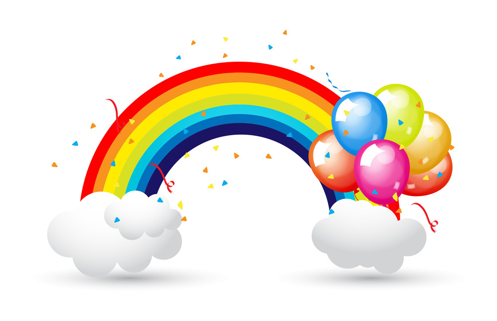 Celebration Balloons With Rainbow And Clouds