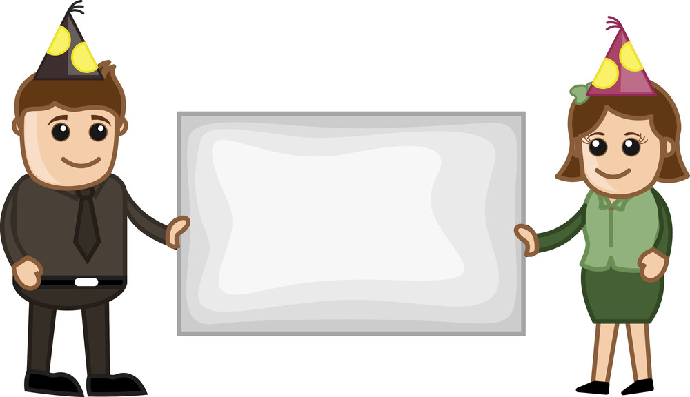 Celebration Blank Banner - Cartoon Business Characters