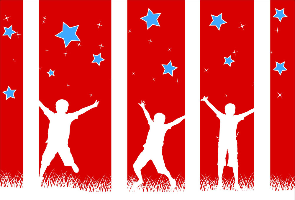 Celebration Happy Kids  4th Of July Vector Theme Design