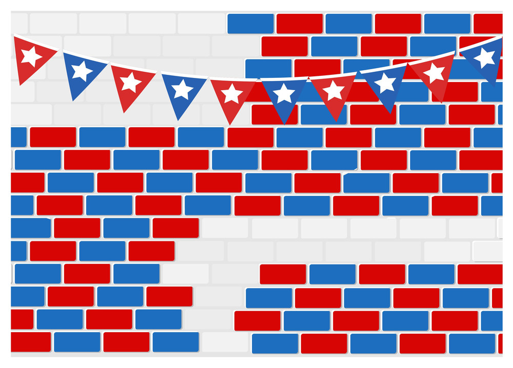 Celebration Wall Usa Independence Day Vector Theme Design