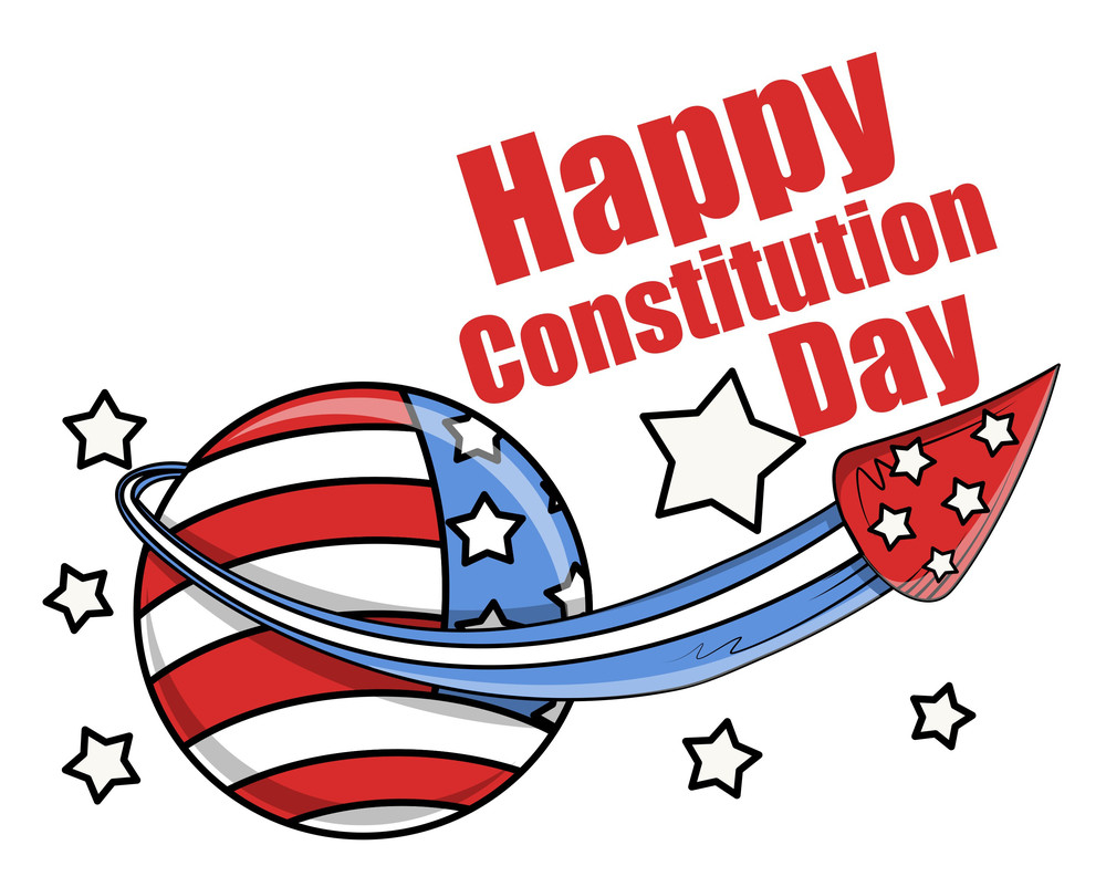 Celebration With Fireworks  Constitution Day Vector Illustration