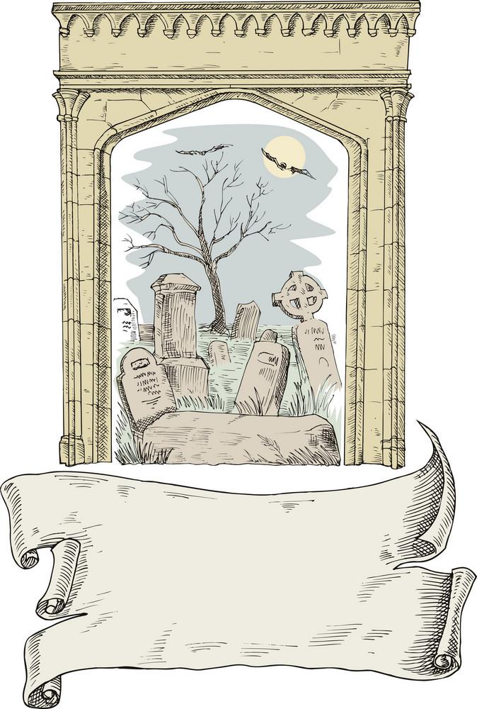 Cemetery Arch Scroll Retro Style