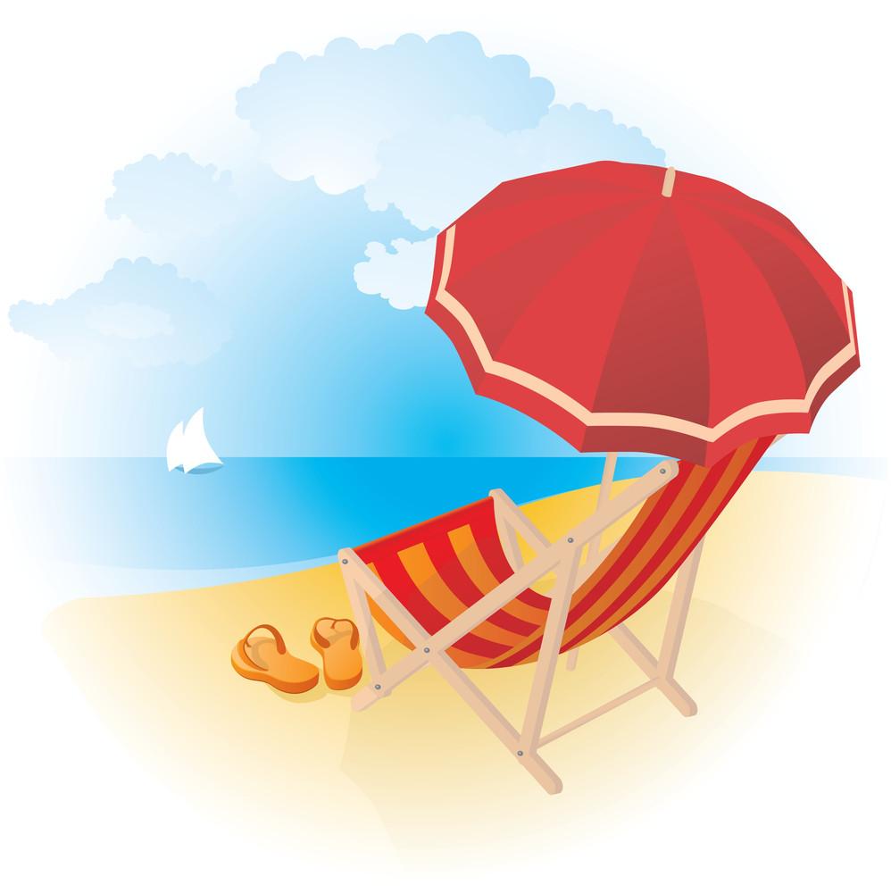 Chaise Lounge On A Beach. Vector.