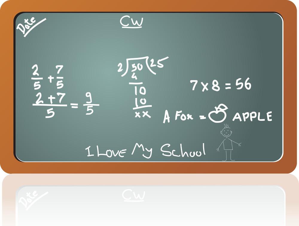 Chalkboard In The Math Class