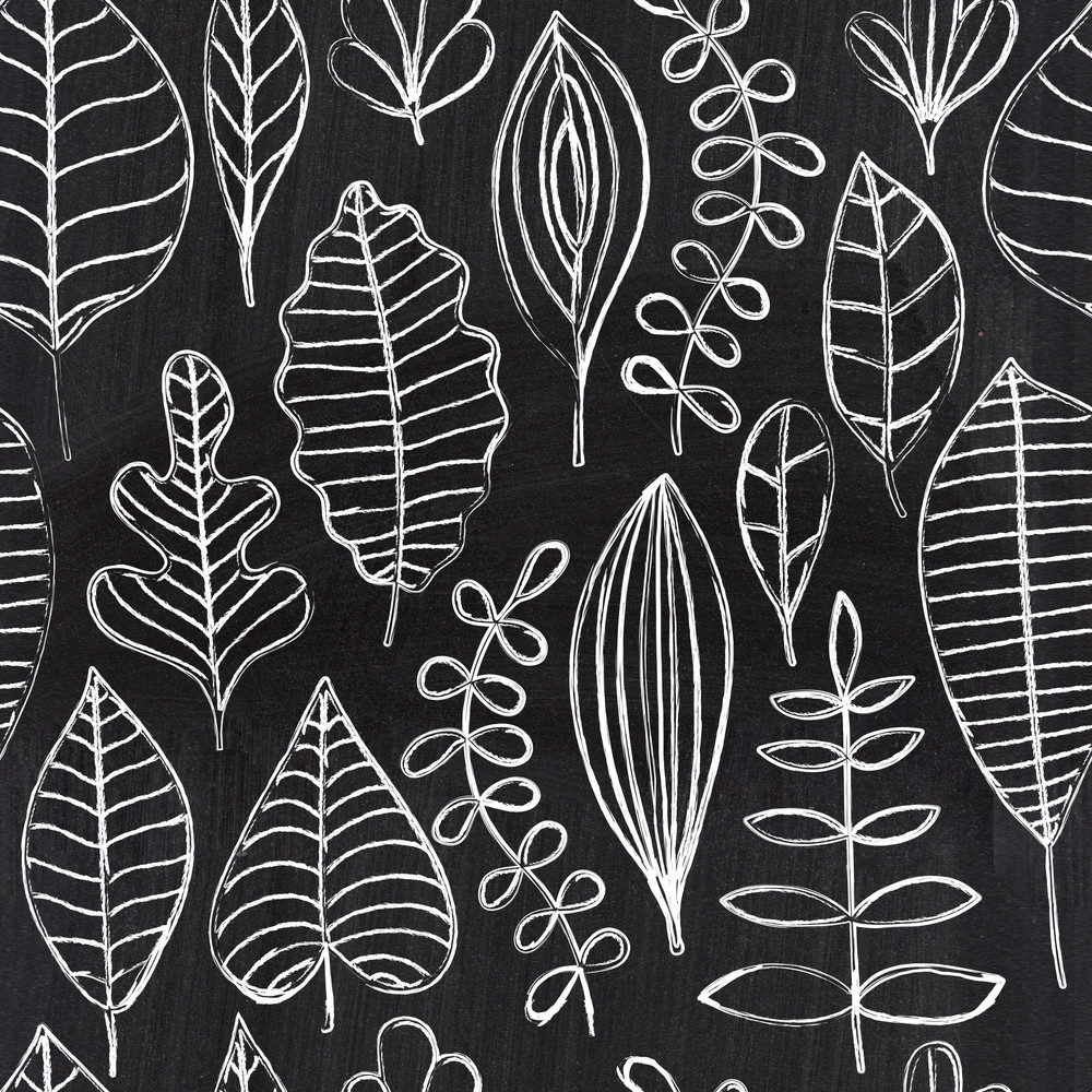 Chalkboard Seamless Leaf Pattern. Copy That Square To The Side