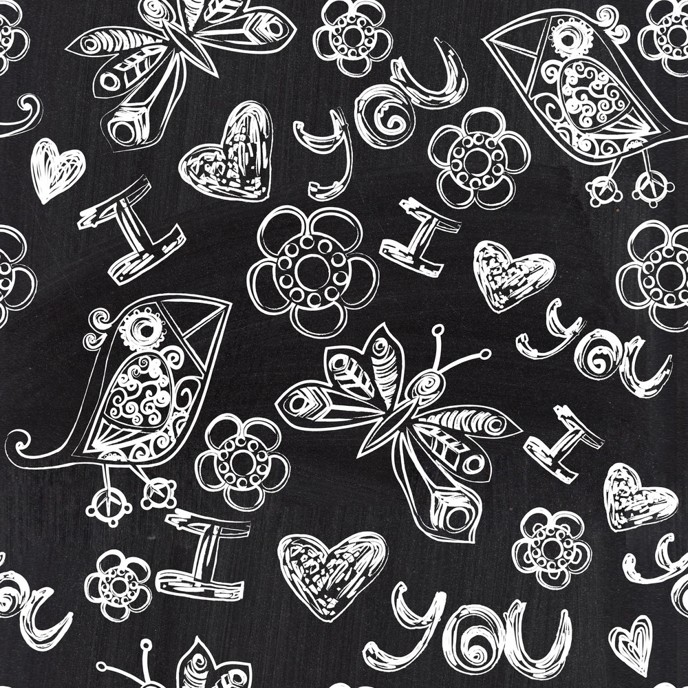 Chalkboard Seamless Valentine Pattern. Copy That Square To The Side