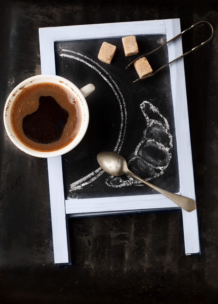 Chalkboard With Coffee And Sugar