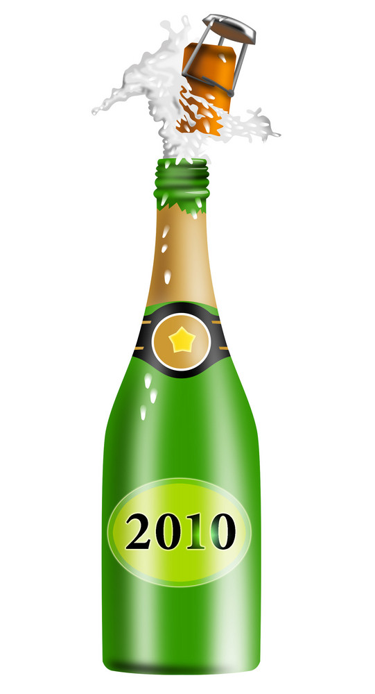 Champagne Wine Bottle New Year 2010
