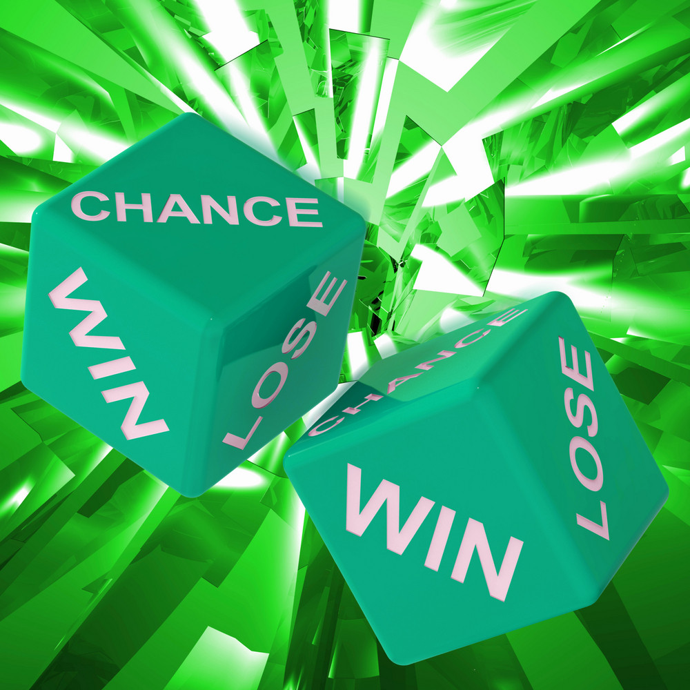 Chance, Win, Lose Dice Background Showing Gamble Losers