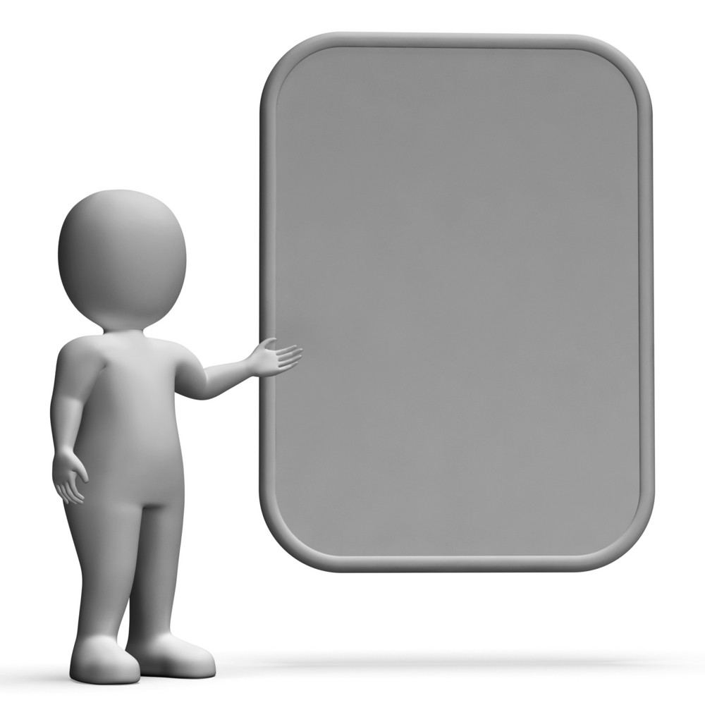 Character With Blank Board For Message Or Presentation