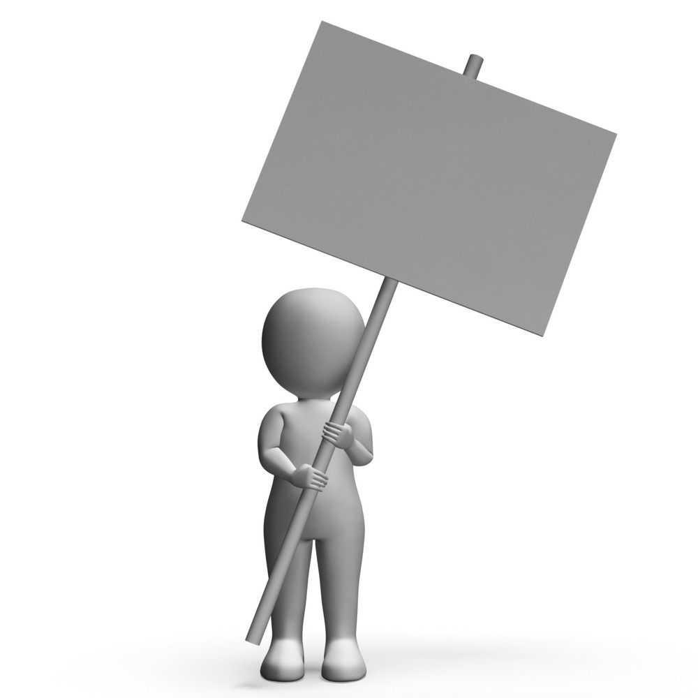 Character With Placard For Message Or Presentation