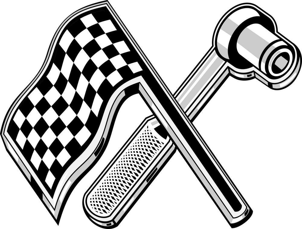 Checkered Flag Socket Wrench Crossed