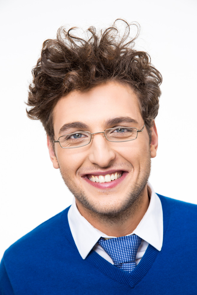 Cheerful Business Man With Curly Hair And Glasses Over White