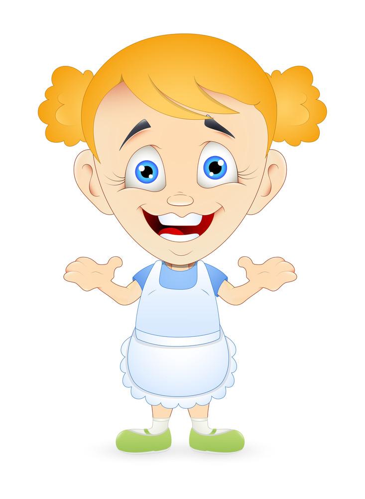 Cheerful Cartoon Servant Girl