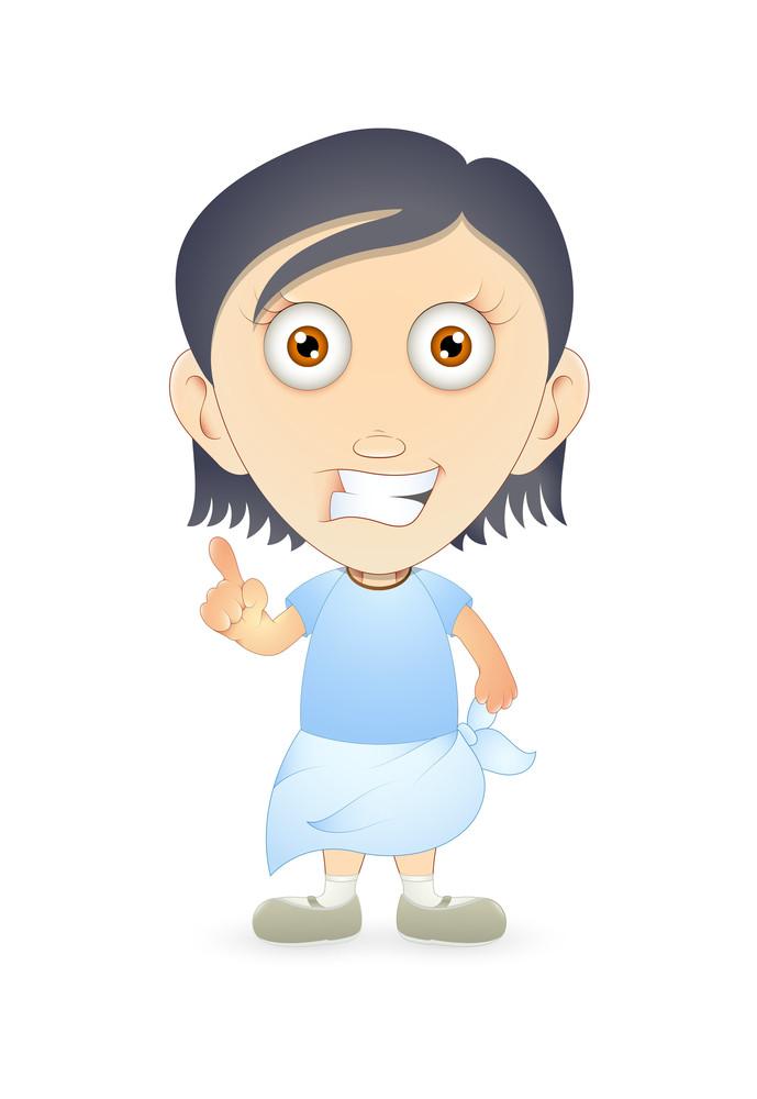 Cheerful Indian Cartoon Boy