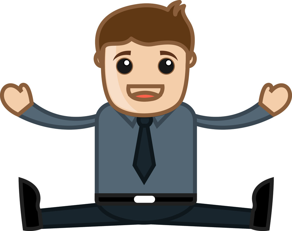 Cheerful Office Person - Business Cartoon Character Vector