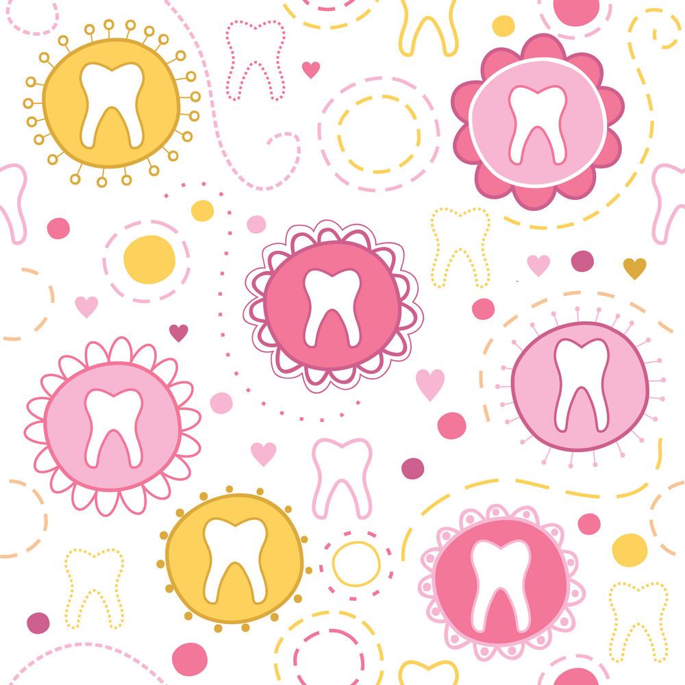 Cheerful Seamless Texture With Cartoon Teeth
