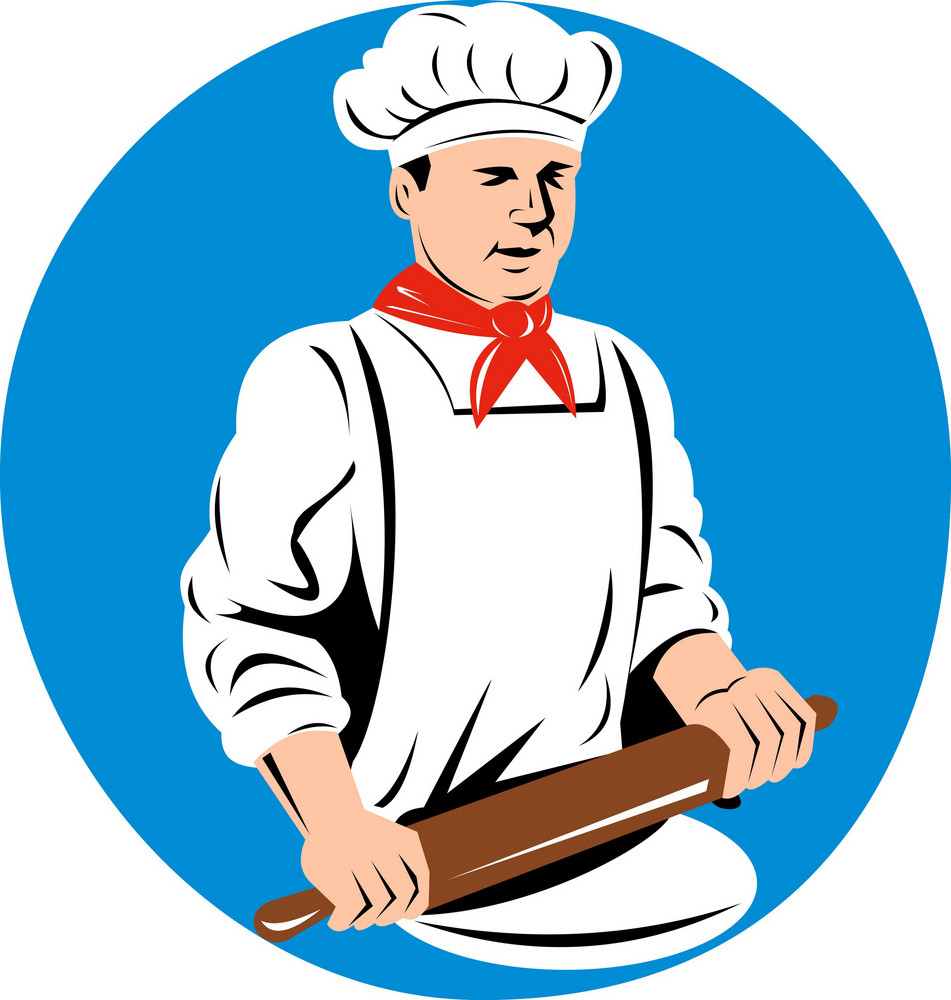 Chef Cook Baker Holding  Kneading Rolling Pin