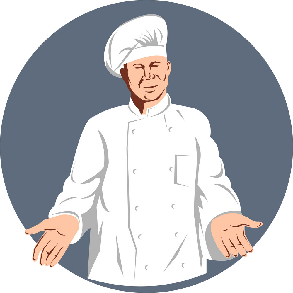 Chef Cook Baker Holding With Arms To Side