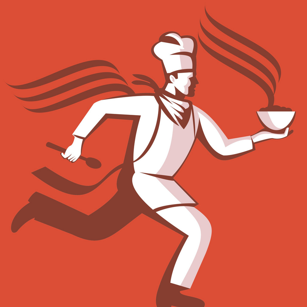 Chef Cook Baker Running With Soup Bowl