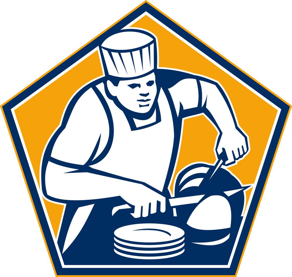 Chef Cook Slicing Ham Retro