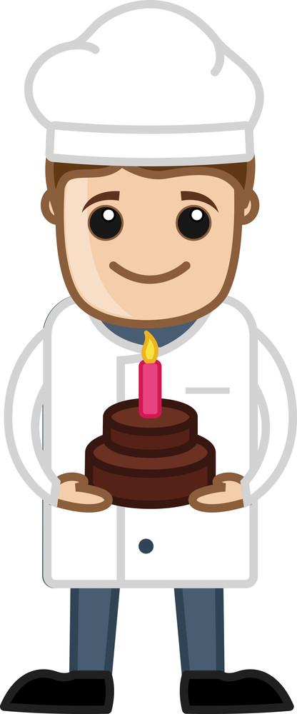 Chef Presenting Birthday Cake - Cartoon Vector
