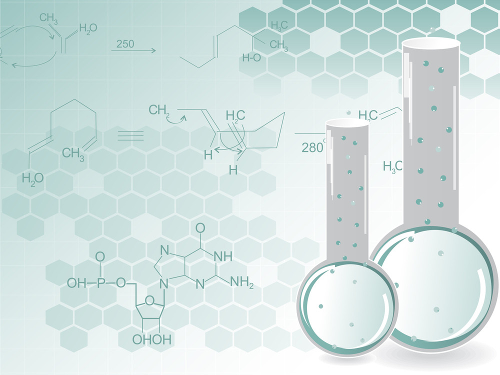 Chemical Formula Background With Laboratory Flask Royalty Free Stock