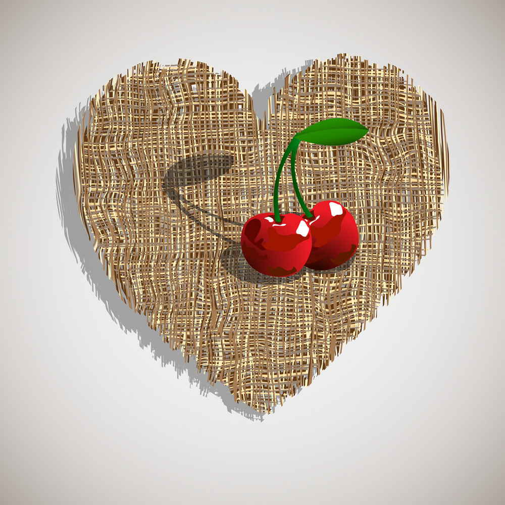 Cherry On Weave Heart