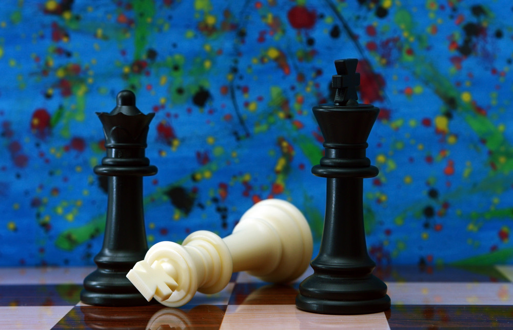 Chess Against Colorful Background