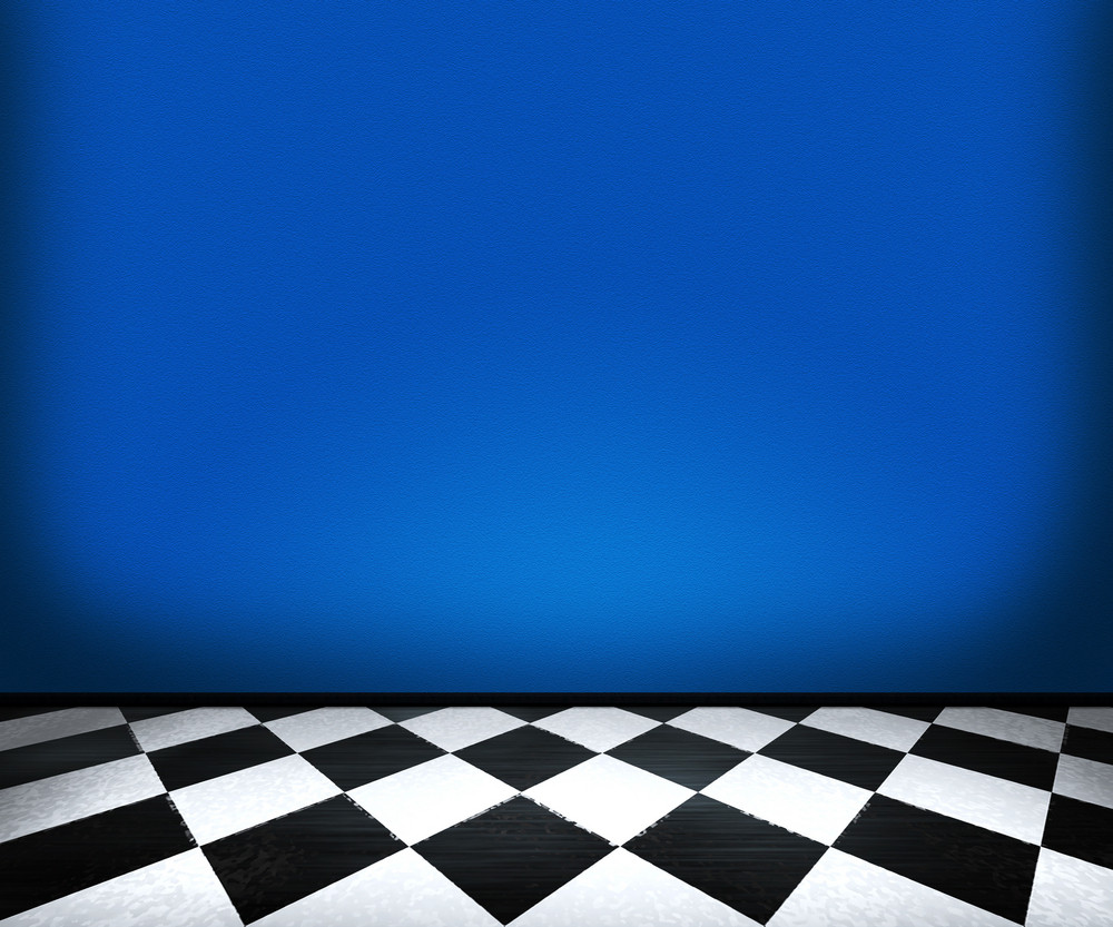 Chessboard Floor Tiles In Blue Room Royalty-Free Stock Image ...