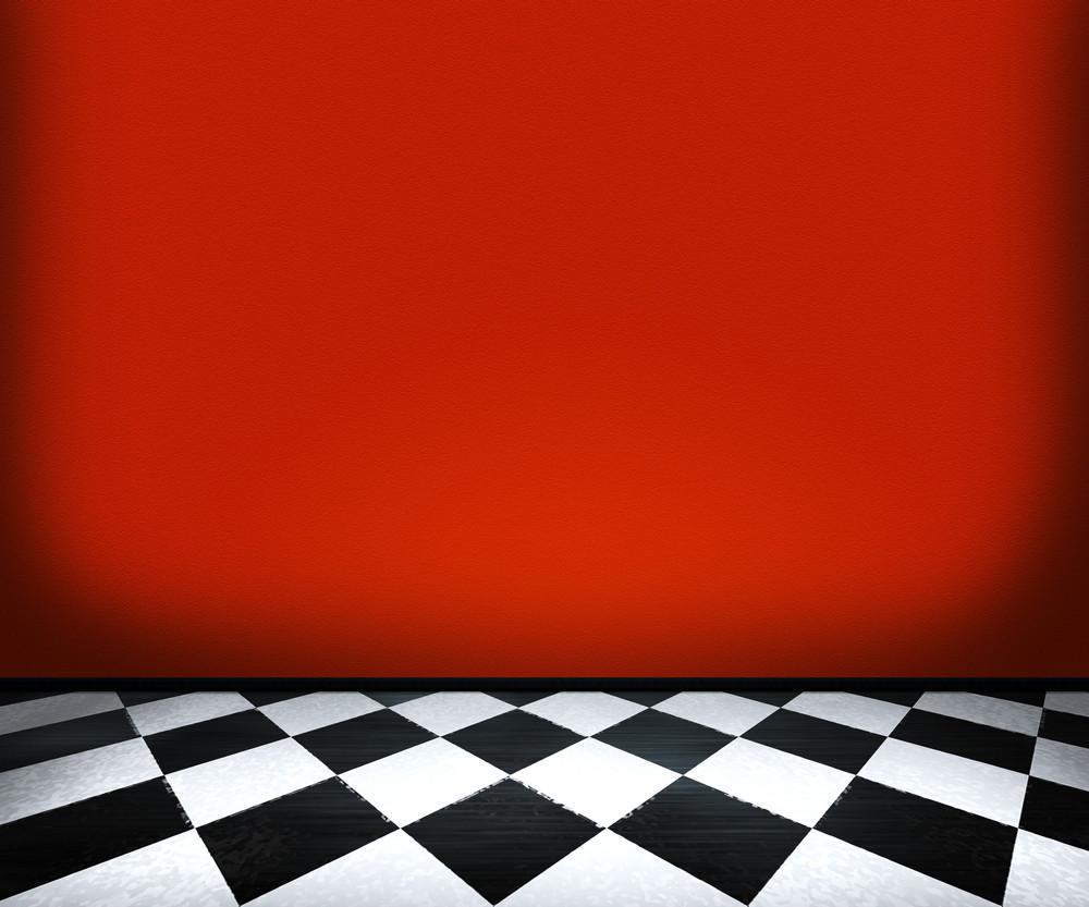 Chessboard Floor Tiles In Red Room