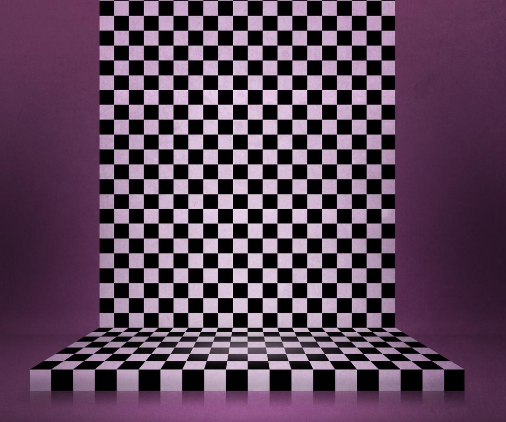Chessboard Stage Violet Room Background
