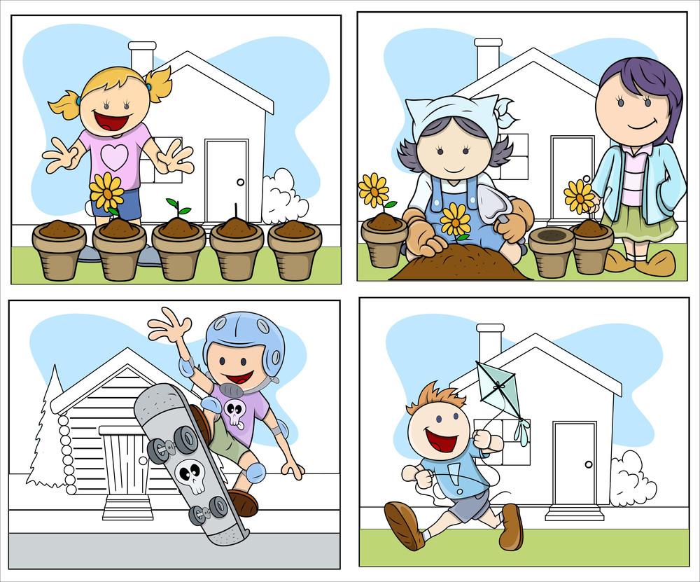 Children Vector Illustration In Cartoon Style