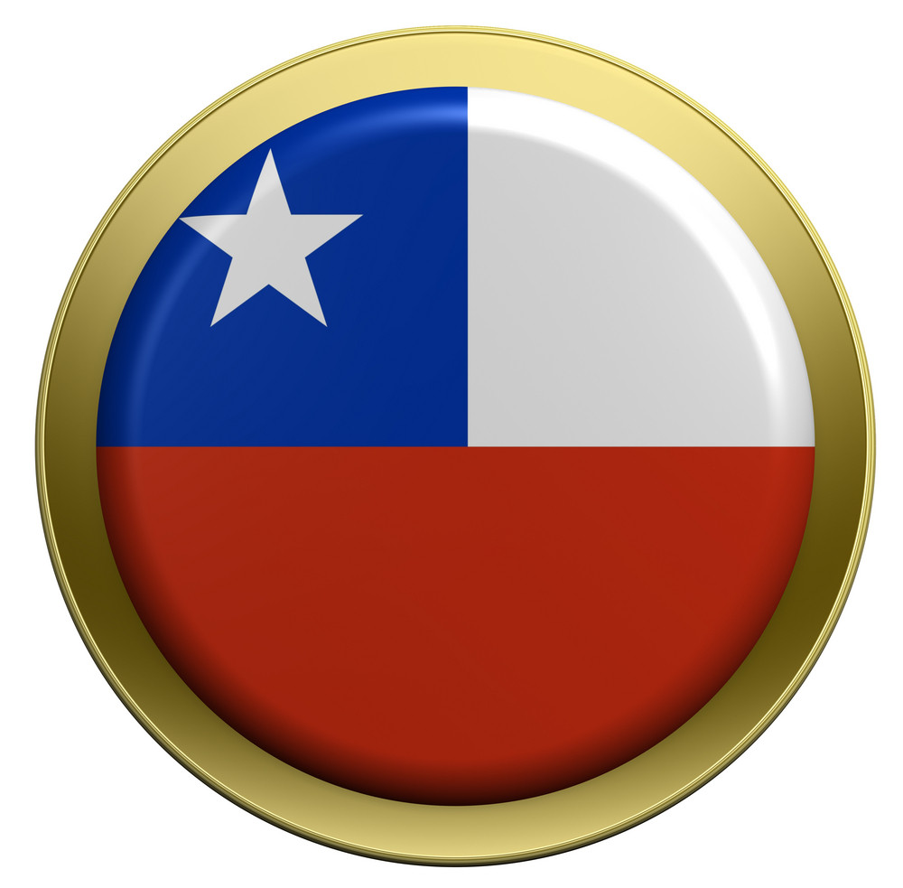 Chile Flag On The Round Button Isolated On White.