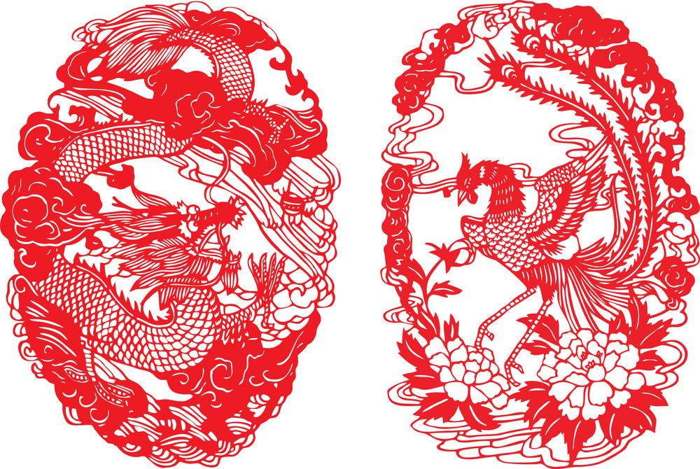 chinese paper cutting dragon phoenix royalty free stock image