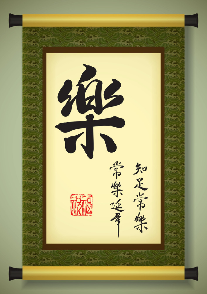 Chinese Scroll With Greeting Calligraphy - Happiness