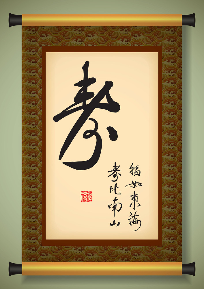 Chinese Scroll With Greeting Calligraphy - Happy Birthday