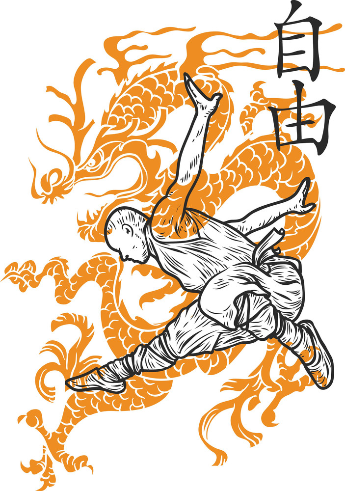Chinese Vector T-shirt Design With Shaolin Monk