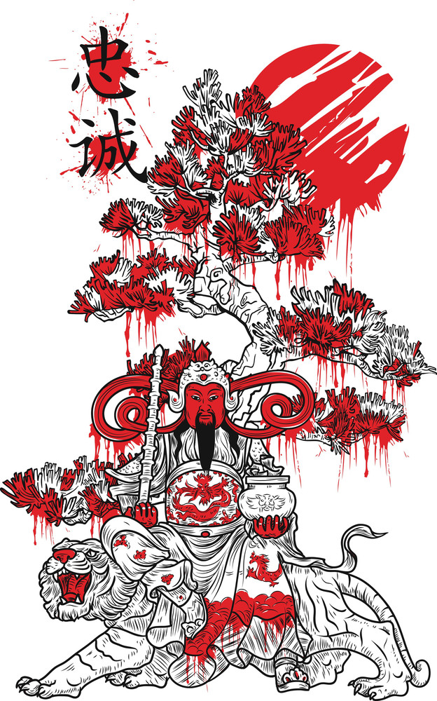 Chinese Vector T-shirt Design With Warrior