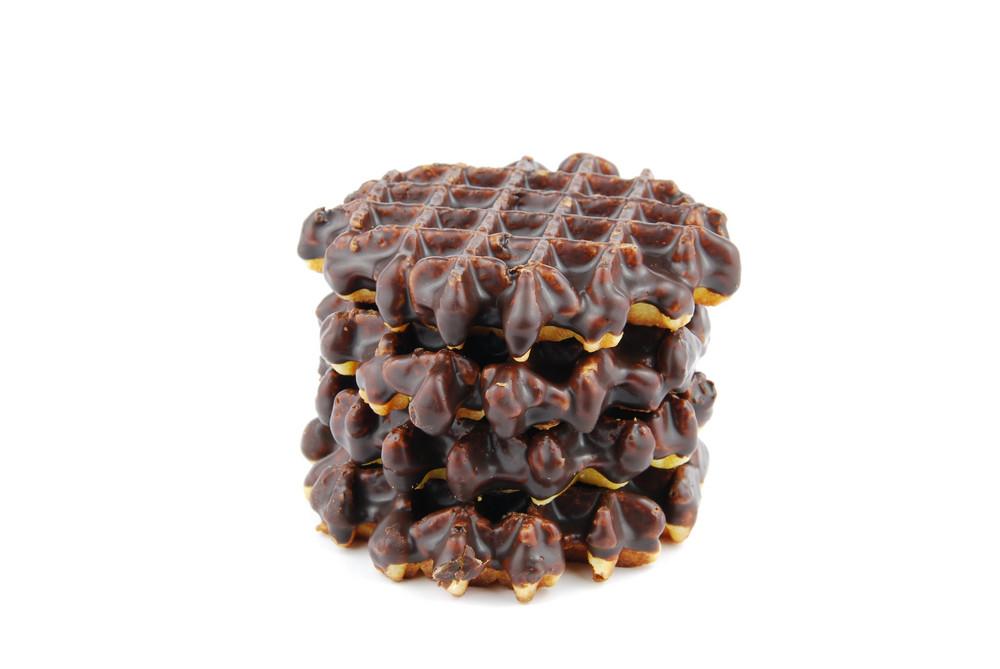 Chocolate Belgian Waffles Stacked On White