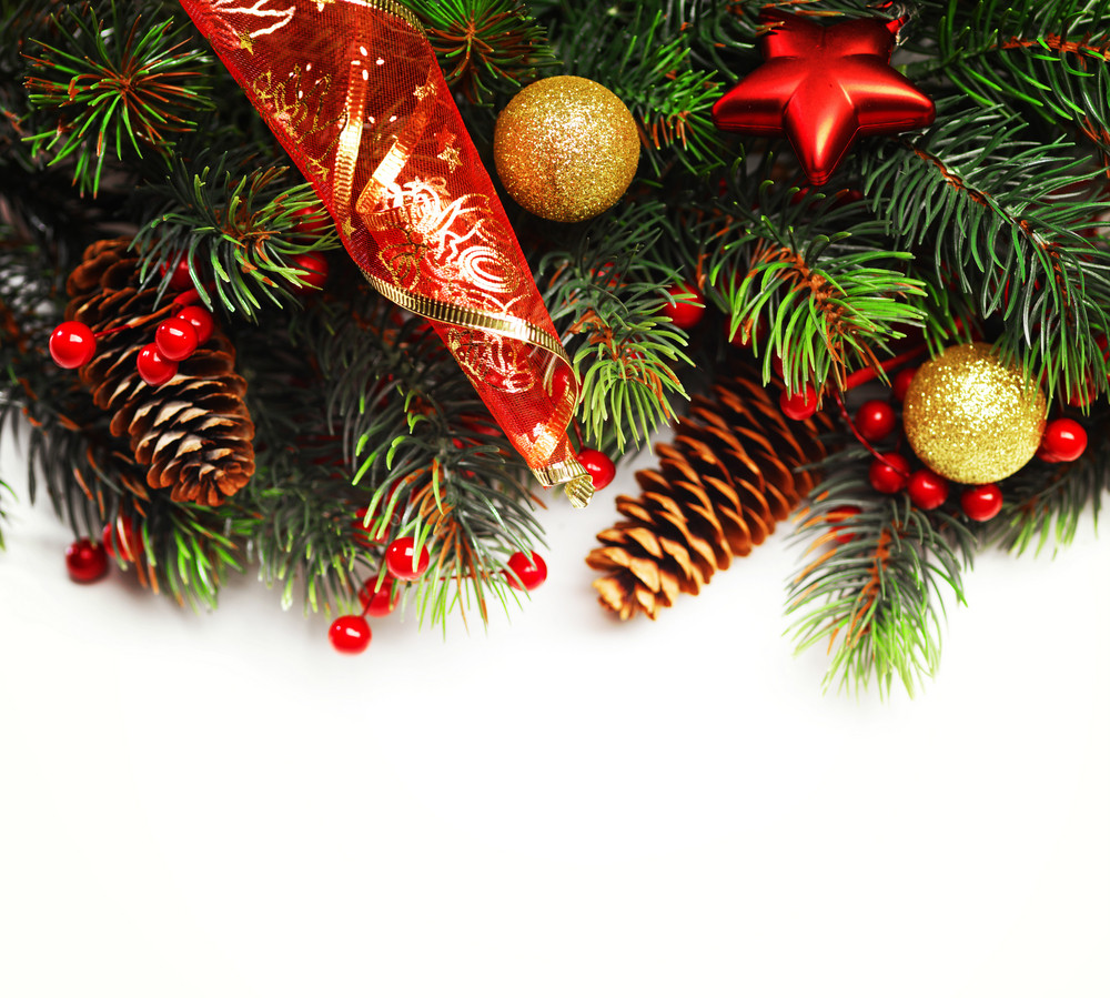 christmas background. christmas boarder with fir tree branch with