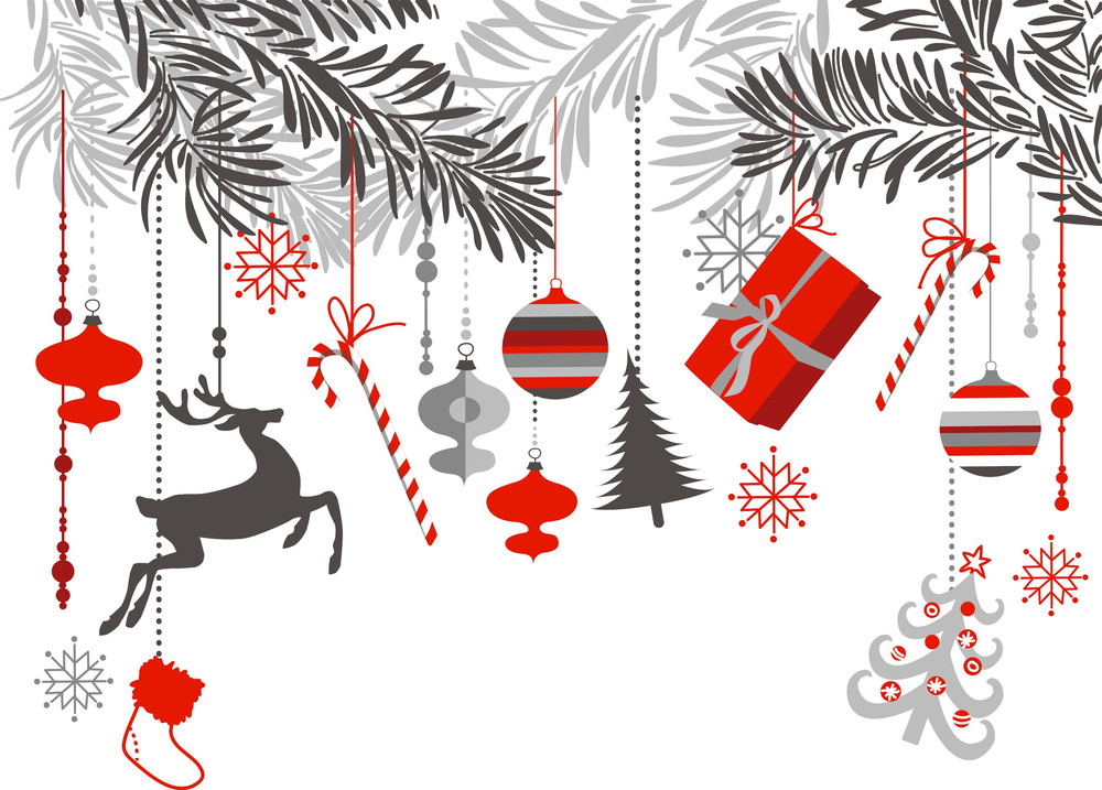 Christmas Background In Grey